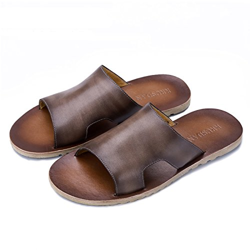 Slippers Men Shoes Flip Flops Slippers Brown Leather Beach Sandals Leather Beach for Shower Genuine Comfortable Casual Non Skid Yao qxETZA