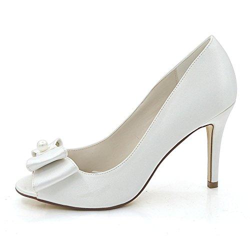 L@YC Zapatos De Boda Para Mujer Primavera OtoñO SatéN Y Noche Boda Rhinestone Pearl Glitters Champagne