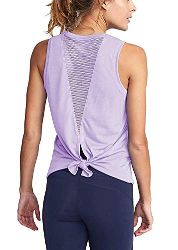 Yoga Camisoles T-Shirts Workout Tanks Shirts Sexy Mesh Tops Exercise Sports Activewear Cute Open Back (Purple, M)