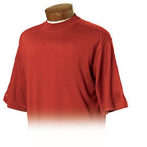 Monterey Club Mens Bamboo Charcoal Mock Neck Shirt #1173 (Red, (Cotton Mock Neck Mens T-shirt)