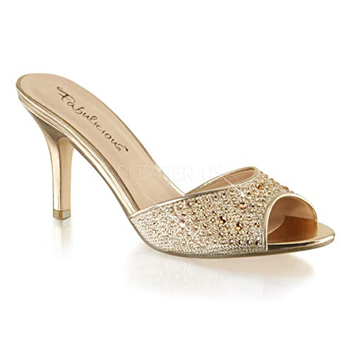 LUCY01/Ggfa Dress Sandal, Gold Glitter Mesh Fabric, 9 M US ()