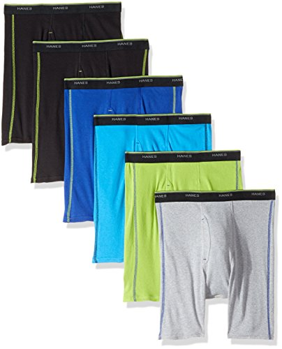 Hanes Red Label Men's Freshiq Sport Boxer Briefs (5 + 1 Free Bonus Pack), Assorted, X-Large