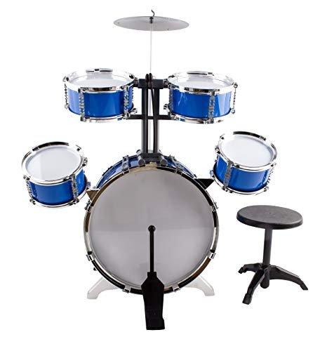 Tony&lyh Classic Rhythm Toy Jazz Drum medium XL Size Children Kid's Musical Instrument Toy Drum Playset w/ 5 Drums, Cymbal, Chair, Kick Pedal, Drumsticks (Blue) by Tony&lyh