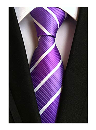 Men Repp Soft Lilac White Silk Tie Wide Stripe Woven Working Summer Suit ()