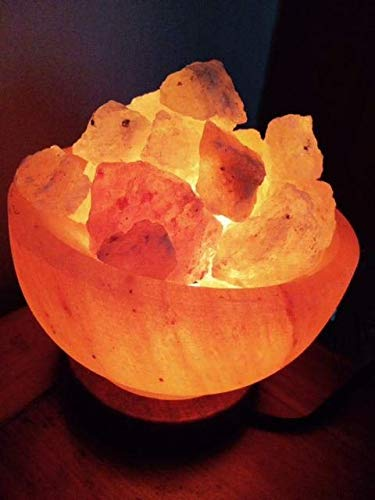 Salt Fire Bowl Lamp Made of 100/% Authentic Natural Pink Himalayan Crystal Rock Salt Premium and Fine Quality by Sourcediy/® 6 with Button Control /& Chunks + 5 Love Heart