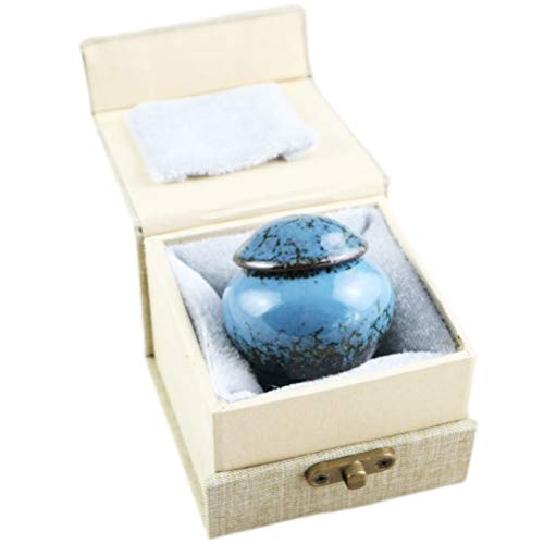 M MEILINXU Mini Keepsake Funeral Urn - Ceramics Cremation Urns for Human Ashes Adult - Hand Engraved - Fits a Small Amount of Cremated Remains - Display Burial Urn at Home or Office (Fambe Blue Ocean