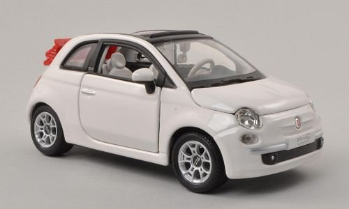 Fiat 500C Cabriolet, bianca, canopy open , Model Car, Ready-made, Bburago 1 24 by Bburago