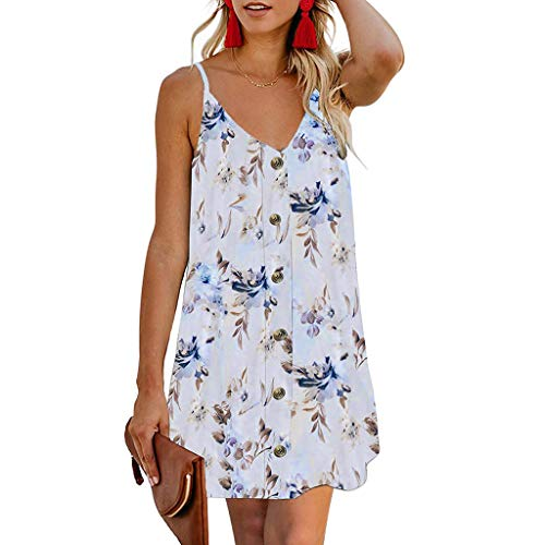 Dress Women Summer Holiday, Qingell Fashion Beach Button Front Sleeveless Casual Mini Print Sundress White