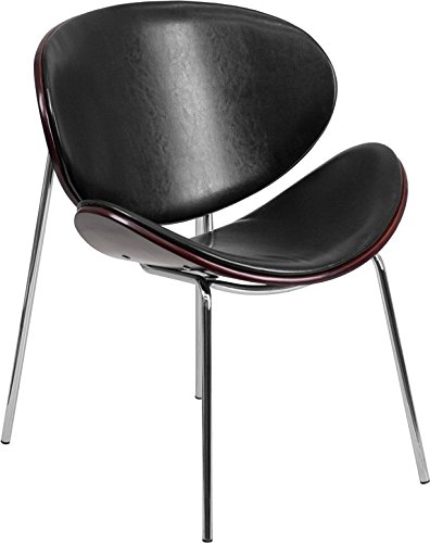 Flash Furniture Mahogany Bentwood Leisure Reception Chair with Leather Upholstery, Black