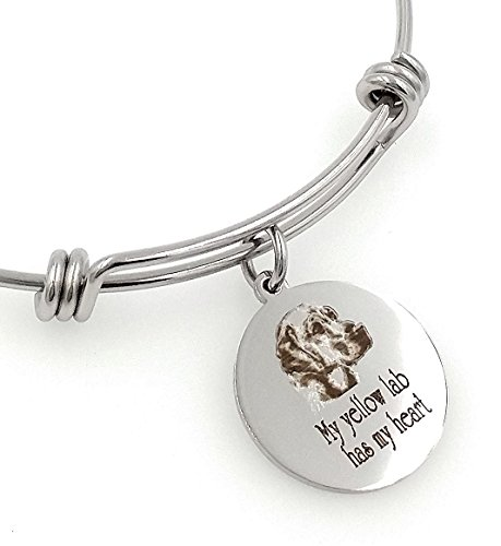 My Yellow Lab, Labrador Retriever Has My Heart Engraved Expandable Bangle (Labrador Retriever Jewelry)