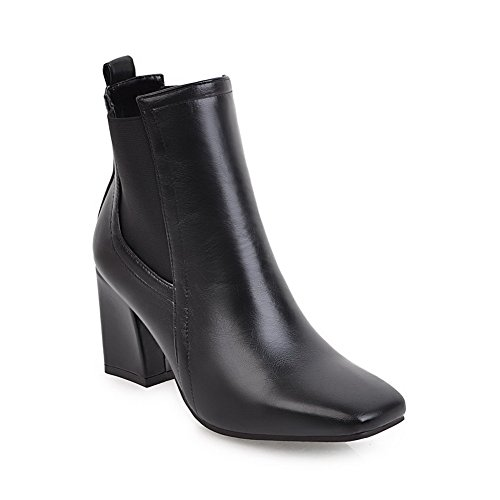 BalaMasa Heels Solid Boots Square Chunky Toe Black ABL10662 Womens Urethane rX41fqr
