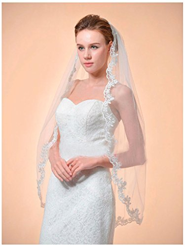 1T Ivory Fingertip Length Lace Edge Bridal Wedding Mantilla Veil w/Comb (W Hotel Halloween Event)