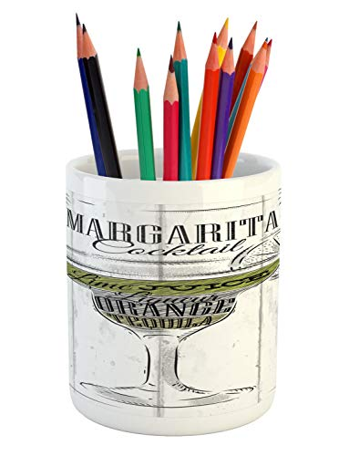 Ambesonne Cocktail Pencil Pen Holder, Ingredients of Margarita Sketch Lime Juice Liqueur Orange and Tequila, Printed Ceramic Pencil Pen Holder for Desk Office Accessory, Grey White Apple Green