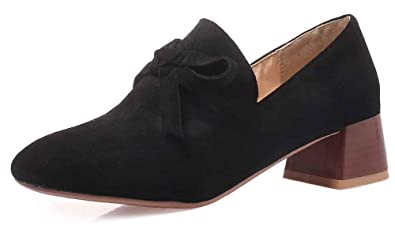 8a23fab64f7 Easemax Women s Stylish Bows Low Top Square Toe Mid Chunky Heel Slip On Dress  Pumps Shoes
