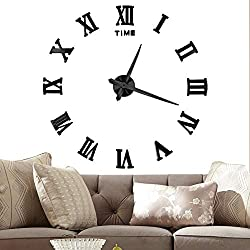 Vangold Large 3D DIY Wall Clock, 2-Year Warranty Roman Numerals Clock Frameless Mirror Surface Wall Sticker Home Decor for Living Room Bedroom