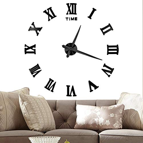 Vangold Large 3D DIY Wall Clock, 2-Year Warranty Roman Numerals Clock Frameless Mirror Surface Wall Sticker Home Decor for Living Room Bedroom (Numerals Roman)