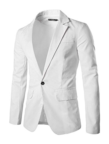 Allegra K Men Notched Lapel Center-Vent Back One-Button Blazer XL White
