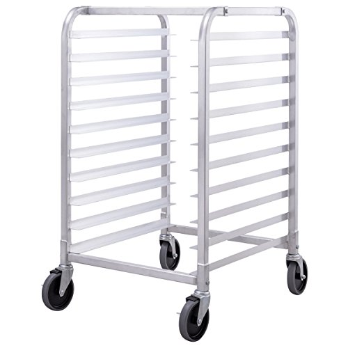 Giantex 10 Tier Aluminum Bakery Rack Home Commercial Kitchen Bun Pan Sheet Rack Mobile Sheet Pan Racking Trolley Storage Cooling Rack w/Lockable - Bakery Pan Rack