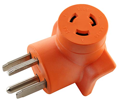 AC WORKS 30 Amp 4-Prong Dryer Wall Outlet Adapter (To L6-20 20A 250V Locking)