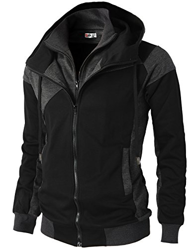 H2H Mens Hoodie Zip-Up Double Zipper Closer with Two Tone Color Black US L/Asia XL (KMOHOL076)]()
