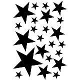 Sterne Aufkleber Set gefüllt 14x2,5cm6x5cm2x7,5cm1x10cm schwarz