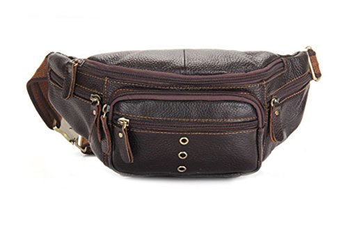OrrinSports Brown Leather Fanny Pack with 6 Zippers & Adjustable Waist Pack for Sports & Leisure Time Brown C (Fanny Pack Alternative compare prices)