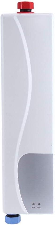Elektrischer Durchlauferhitzer, sofortig, 3000 W, 220 V, kompakt, tragbar, Mini-Betrieb mit Wasserhahn, für Bad Küche (weiß)