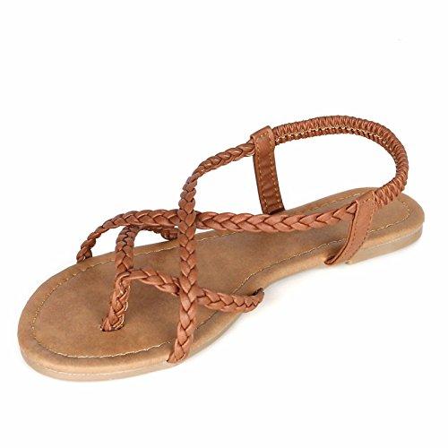 Women's Flat Tan Sandal ANNA Y Strap Strappy Flop Flip Braided d4xxqU