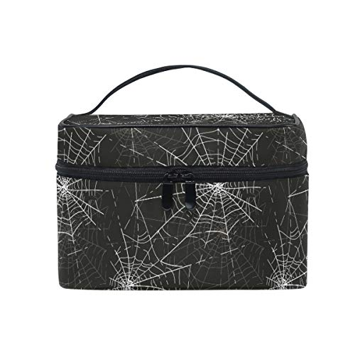 Halloween Spider Web Women Makeup Bag Travel Cosmetic Bags Toiletry Train Case Beauty Pouch Organizer -
