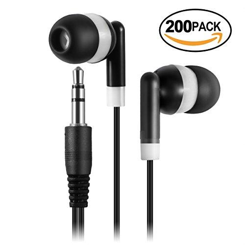 Keewonda Earphones Bulk Earbuds Headphones - 200 Pack Ear Buds Kids Bulk Headphones Wholesale Disposable Earbuds for School Classroom Students (Black/White) by Keewonda
