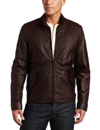 e35f91e0d Tommy Hilfiger Men's Washed Leather Barracuda Collar Jacket