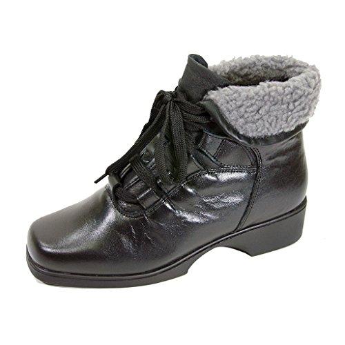 FIC PEERAGE Hazel Women Extra Wide Width Lace Up Leather Bootie BLACK 9.5 (Girls Black Hazel Shoes)