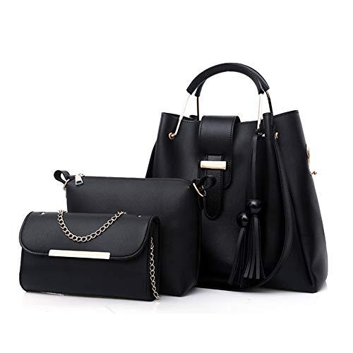 acae4a3624 Womens Tote Handbag Chain Shoulder Crossbody Bag 3pcs Bag Set Tassel  Pendant PU Leather Clutch Purse