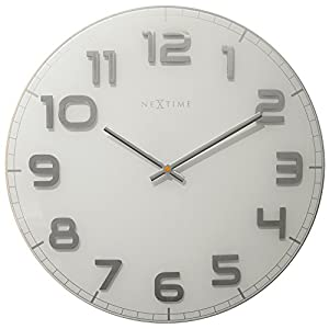 Nextime Reloj de Pared Classy Large, Muy silencioso, en Cristal, Blanco, Redondo, ø 50 cm 14