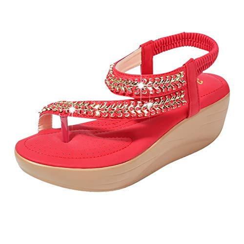 - SMALLE_Shoes Thong Flat Sandals,SMALLE◕‿◕ Women Sparkle Sandals Bohemia Flip Flops Ankle Strap Summer Open Toe Dress Sandals Red