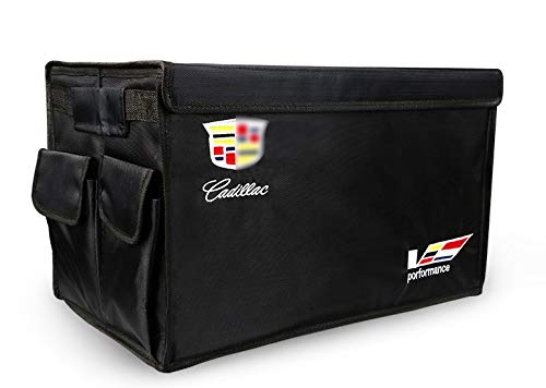 YI MEI DA Auto Trunk Organizer Collapsible Portable Multi Compartments Storage Container for Cadillac Emblem Decoration,Black NAN JING YI MEI DA