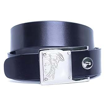 Versace Collection Black Leather Belt For Men