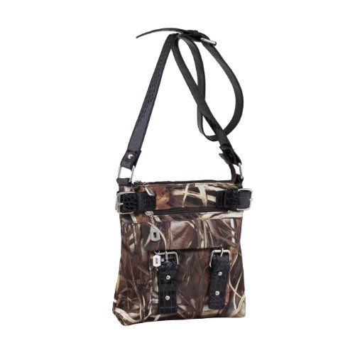 Emperia Women's 8 Pocket Purse with Studded Buckle Embellishments, Realtree Dark Brown/Dark Brown, Small