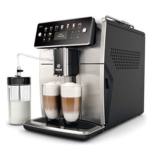 Philips Saeco SM7583/00 – Cafetera Espresso Súper Automática, 12 bebidas de café, 6 perfiles, jarra de leche LatteDuo…