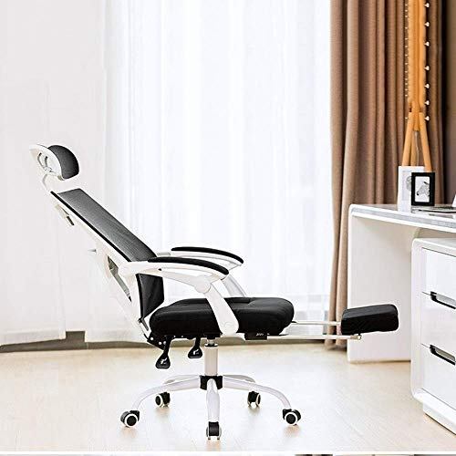 Barstolar Xiuyun ergonomisk justerbar kontorsstol med justerbart stöd för ländrygg – hög rygg med förtjockning svampsits kudde – justerbara huvudarmstöd, med fotstöd