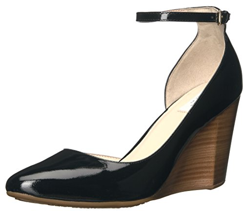 Ankle Strap Lined Platform - Cole Haan Women's Sadie Ankle Strap Wedge 85MM Platform, Black Patent, 8 B US