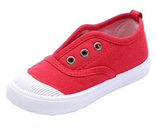 DADAWEN Baby Mädchen Sneaker Jungen Leichte Canvas Kinderschuhe Slip-On Laufschuhe Rot