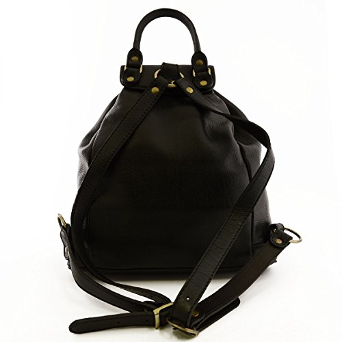 Zaino In Vera Pelle, 2 Tasche Frontali Colore Nero - Pelletteria Toscana Made In Italy - Zaino