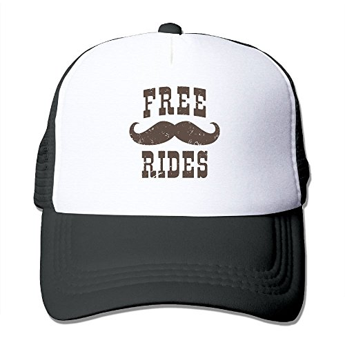 FirstB Free Mustache Rides Unisex Trucker Hat Mesh Cap With Adjustable Snapback Strap Black]()