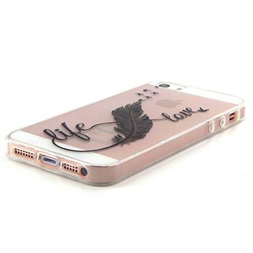 Voguecase® für Apple iPhone 5 5G 5S hülle, Schutzhülle / Case / Cover / Hülle / TPU Gel Skin (Schwarz Feder/love) + Gratis Universal Eingabestift