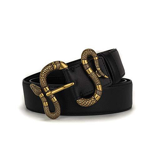 Buckle Designer (Beatfull Designer Genuine Leather Bee Belt for Women, Fashion Canvas Bee Snake Designer Buckle Belt with Pearl (110cm, Snake-black))