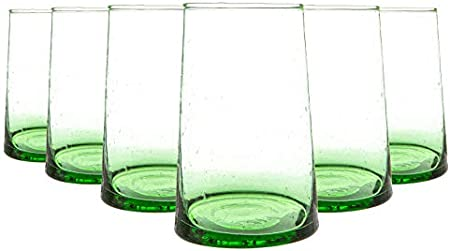 Nicola Spring 6 Pieza Merzouga Reciclado Highball Vasos, Decorado - Vidrio para Beber - 320ml - Verde