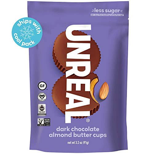 UNREAL Dark Chocolate Almond Butter Cups | Vegan, Gluten Free, Less Sugar | 6 Bags (Unreal Dark Chocolate Crispy Quinoa Peanut Butter Cups)