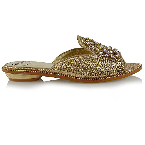 Sandali Da Donna Essex Glam Sandali Con Tacco Basso E Strass Oro