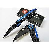 Iron Man Aviation Aluminium Handle Manual Pocket Knife with Clip, Blue Version